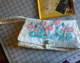 Clutch Made with Vintage Flower Embroidery