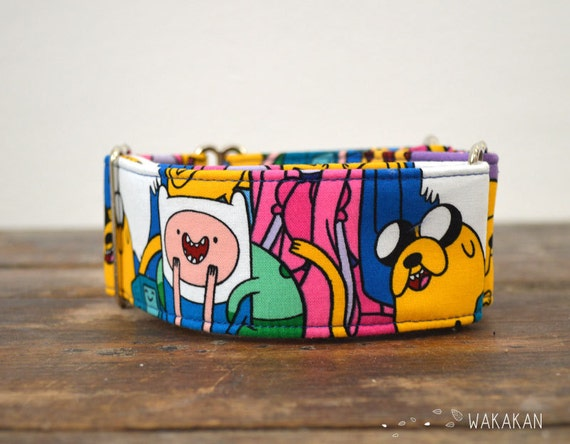 Martingale dog collar model Jake and Finn. Adjustable and handmade with 100% cotton fabric. Cartoon funny design. Wakakan