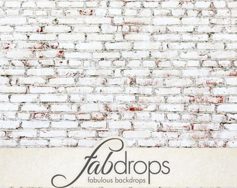 5x7 Painted White Brick Backdrop / Faded brick wall photography background - Fab Vinyl 5'x7' ft  (FV0908)