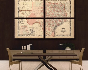 "Map of Texas 1862, Vintage Texas map reprint - 6 large/XL sizes up to 72x48"" in 1 or 4 parts-in 3 three colors"