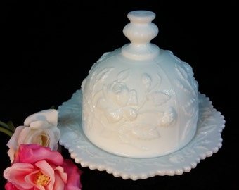 Rare Imperial Glass Round Butter Dish with Roses