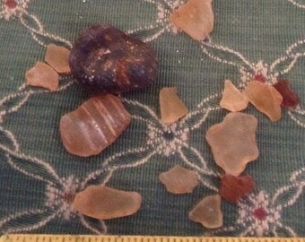 Vintage Sea Glass Shards green clear brown