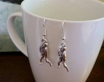 Silver Zombie Charm Earrings