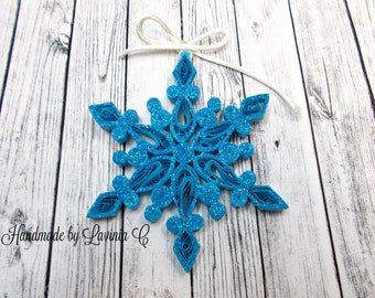 Christmas Quilled Snowflake ,Christmas Snowflake Ornament ,snowflake decoration,Hanging Christmas Ornament,snowflake christmas tree