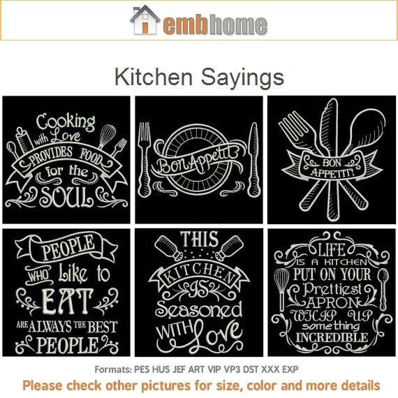 Kitchen sayings machine embroidery designs instant download for Kitchen design quotes