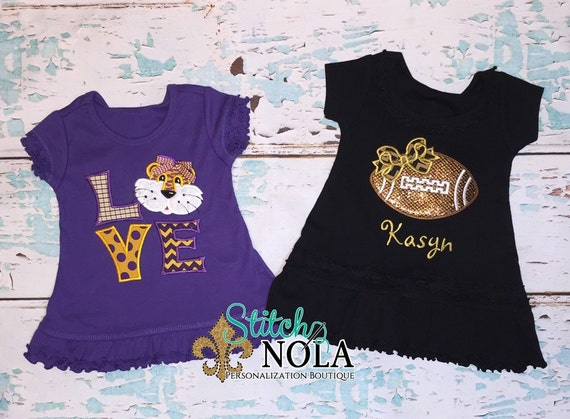 Buy 2 and SAVE!!! Black and Gold Glitter Football Dress and Purple Tiger LOVE Dress Set
