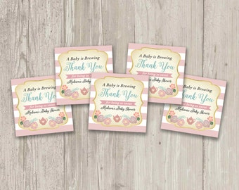 A Baby is Brewing, Tea Party Favor Tags, Love is Brewing, Thank you tags | Printable