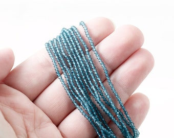 London Blue Topaz 2mm tiny beads gorgeous intense blue color micro faceted ultra shiny sparky amazing quality tiny beads full strand