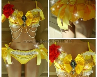 Belle Costume,  Rave Costume, Rave Wear- Theme Wear- Dance - Costume - Halloween Costume, Sexy Belle, Beauty & Beast