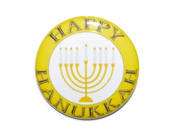 Happy Hanukkah Festival of Lights Chanukah Menorah candles Kislev 2 1/4 inch button