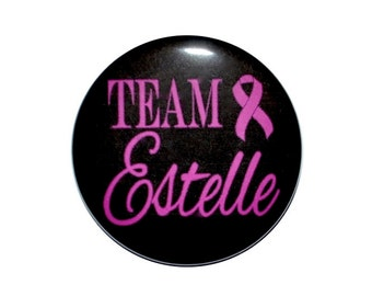 breast cancer awareness breast cancer support pink ribbon awareness team pink 2 1/4 inch button