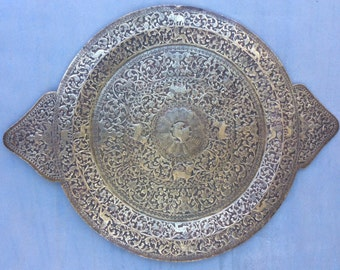 Unusual oblong antique highly detailed copper Repousse/ chasing large tray