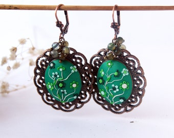 Emerald green earrings, Deep Green earrings, green flower earrings, Oversized earrings, Agate jewelry, Green earrings