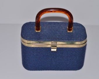 Vintage Estate JR Lucite Handle Denim Blue Woven Box Purse