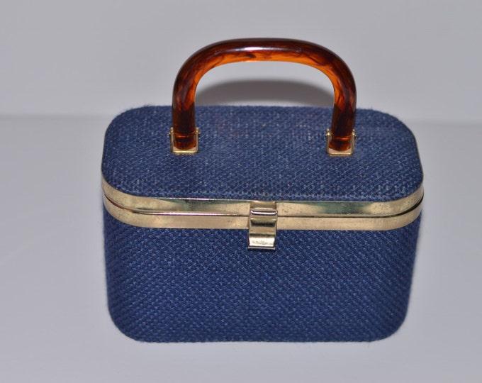 Vintage Estate JR Lucite Handle Denim Blue Woven Box Purse