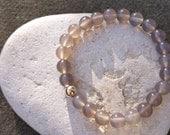 Grey Agate Bracelet 9ct Gold Bracelet Beaded Bracelet Stretch Bracelet Agate Bracelet Grey Gemstone Bracelet