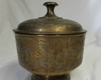 Covered Compote, Covered Candy Dish, Brass, Etched Floral Pattern, India, 1970's or 1980's