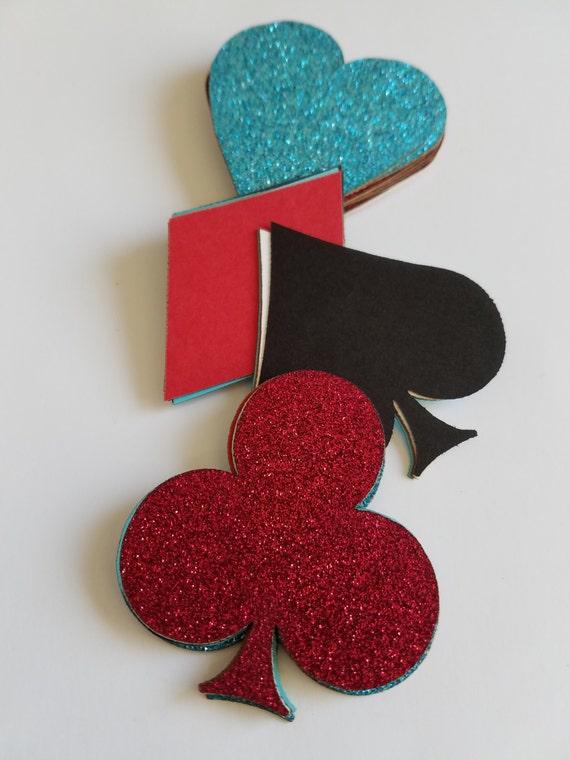 Scrap Booking Poker Symbol Glitter Mixture Die Cut Outs
