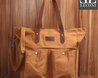 LECONI XXL shopper bag bag shoulder bag lady bag shoulder bag of canvas leather cognac LE0040-C
