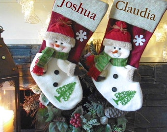 5 x burlap snowman christmas stockings - embroidered with names