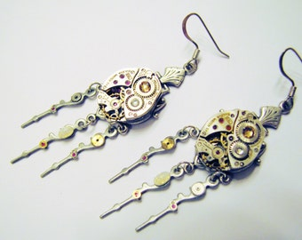 Steampunk Vintage Watch Movement Earrings with Rare Pinfire Opals, Watch Earrings, Steampunk Earrings ER77
