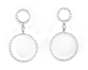 1.75 CT Nautral Diamond Circle Drop Earrings in Solid 18k White Gold