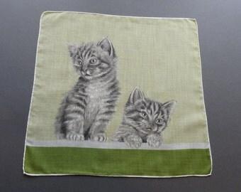 Two Striped Kittens - Vintage Cotton Hankie Handkerchief