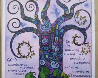 "Print of an original watercolor painting- ""Abundance Tree"" -11"" x 15 1/4"""
