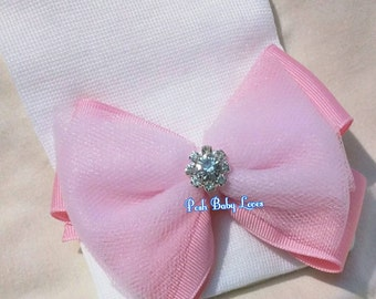 Newborn Hospital Hat! It's a Girl! 1st Keepsake! Baby hat Pretty Ribbon & Tulle Bow and RHINESTONE! Pink/White Hat! Gender Reveal!