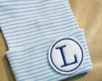 Newborn Hospital Hat Monogramed with Initial For a BOY or Girl! You Choose Hat and Applique Color. 1st Keepsake! Cute!