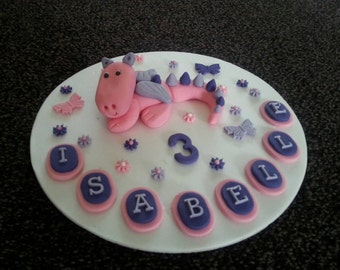Edible girls dragon birthday cake topper decoration PERSONALISED