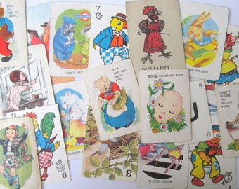 Variety pack of vintage children's playing cards: 20 mixed cards from games. Ephemera pack for craft, altered art, junk journal OT444