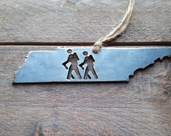 Tennessee Hikers Christmas Tree Ornament TN Metal State Heart Holiday Gift Industrial Decor Wedding Favor By BE Creations