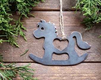 Rocking Horse Love Christmas Ornament Metal Heart Christmas Tree Ornament Holiday Gift Industrial Decor Wedding Favor By BE Creations