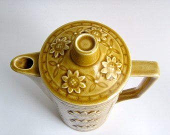 SALE golden yellow sunflower flower power vintage coffee or teapot