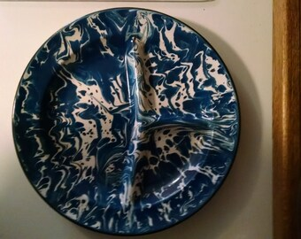 Vintage, Enamelware, Blue and White Spackle, Enamel, Divided Plate