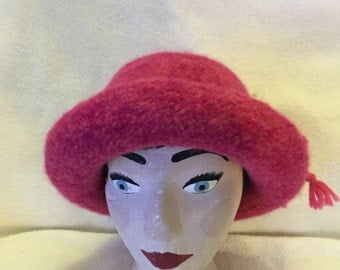 Womens variegated pinks wool felted hat with cord