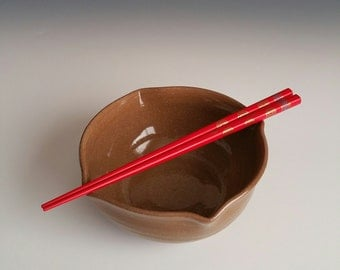 Handmade Brown Chopstick Bowl - Noodle Bowl - Rice Bowl - Pho Bowl - Asian Tableware