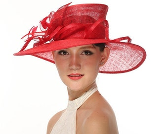 Church Kentucky Derby Carriage Tea Party Wedding Wide Brim Woman's Royal Ascot Hat in Solid Sinamay Hat Red