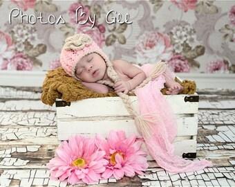 Baby earflap hat, pink earflap hat, winter baby hat, newborn earflap hat, crochet baby hat, newborn girl hat, girl earflap hat