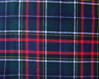 Wool tartan plaid fabric vintage green navy red black