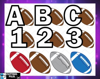 America Football ball alphabet - Cutting files Svg Eps Png Jpg Vinyl cut Design files Instant Download Personal Commercial use (00023c)