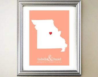 Missouri Custom Vertical Heart Map Art - Personalized names, wedding gift, engagement, anniversary date