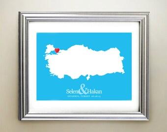 Turkey Custom Horizontal Heart Map Art - Personalized names, wedding gift, engagement, anniversary date