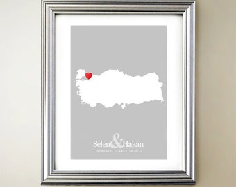 Turkey Custom Vertical Heart Map Art - Personalized names, wedding gift, engagement, anniversary date