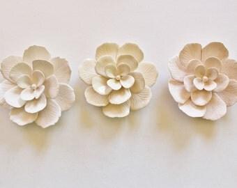 Set of 3 Decorative  Ceramic Flowers - Assortment of 3 colours - Table Centerpiece,  Wall Decor, Home Decor....