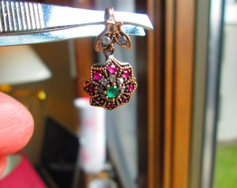 Vintage Inspired Sparkling Art Deco .28ctw Emerald, Ruby & White Sapphire Two Tone 14KT Gold/925 Sterling Silver Pendant, 3.6 Grams