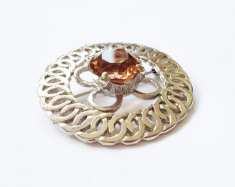 Vintage Celtic Brooch set with Smoked Topaz Swarovski Crystal