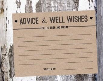 Wedding Advice Cards - Printable