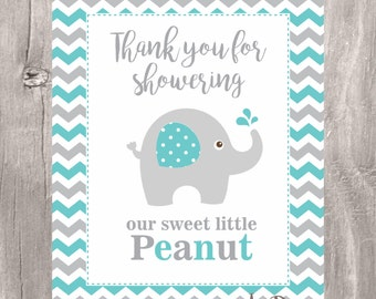 Elephant Baby Shower Sign, Little Peanut Teal and Grey Sign, Instant Download, Elephant Printable Sign, Chevron Little Peanut Elephant Sign